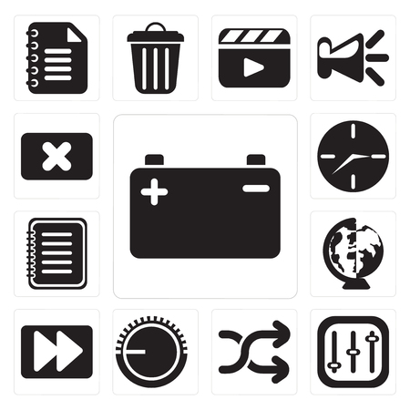 Set Of 13 simple editable icons such as Battery, Controls, Shuffle, Volume control, Fast forward, Worldwide, Note, Clock, Close, web ui icon pack