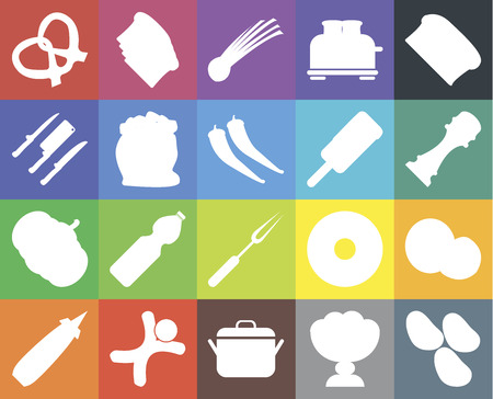 Set Of 20 icons such as Potatoes, Ice cream, Pot, Gingerbread, Mustard, Bread, Coconut, Fork, Pumpkin, Flour, Pretzel, Pepper, Chives, web UI editable icon pack, pixel perfect Ilustrace