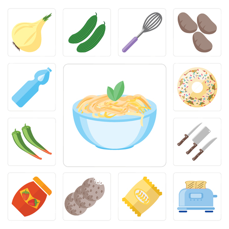 Set Of 13 simple editable icons such as Pasta, Toaster, Chips, Cookies, Jam, Knives, Pepper, Doughnut, Water, web ui icon pack Stock Illustratie