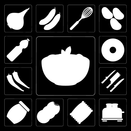 Set Of 13 simple editable icons such as Pasta, Toaster, Chips, Cookies, Jam, Knives, Pepper, Doughnut, Water on black background Illustration