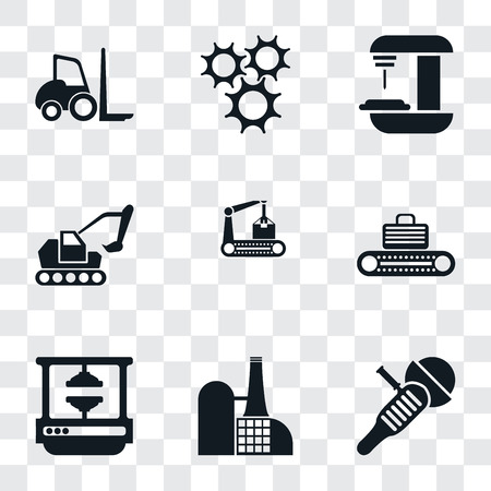 Set Of 9 simple transparency icons such as Sanding machine, Factory, Machine press, Conveyor, Excavator, Machine, Cogwheel, Forklift, can be used for mobile, pixel perfect vector icon pack Illustration