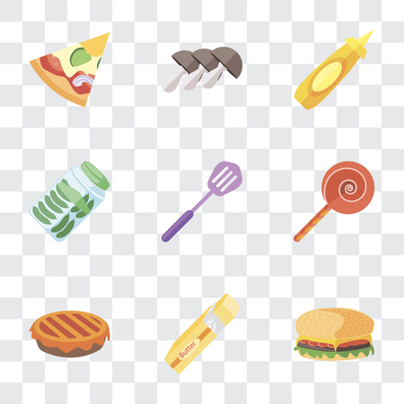 Set Of 9 simple transparency icons such as Hamburguer, Butter, Pie, Jawbreaker, Spatula, Pickles, Mustard, Mushrooms, Pizza, can be used for mobile, pixel perfect vector icon pack on transparent Stok Fotoğraf - 111925820