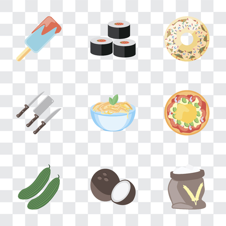 Set Of 9 simple transparency icons such as Flour, Coconut, Cucumber, Pizza, Pasta, Knives, Doughnut, Sushi, Ice cream, can be used for mobile, pixel perfect vector icon pack on transparent background Illustration