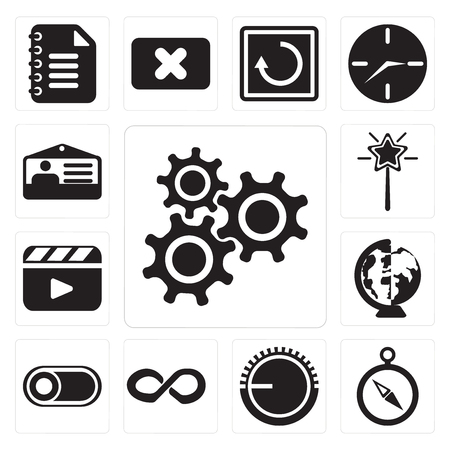 Set Of 13 simple editable icons such as Settings, Compass, Volume control, Infinity, Switch, Worldwide, Video player, Magic wand, Id card, web ui icon pack