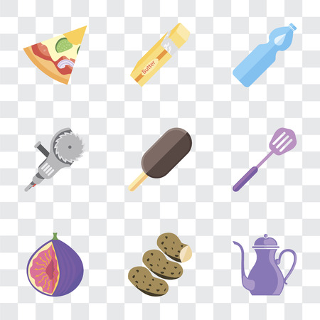 Set Of 9 simple transparency icons such as Teapot, Potatoes, Fig, Spatula, Ice cream, Grinder, Water, Butter, Pizza, can be used for mobile, pixel perfect vector icon pack on transparent background