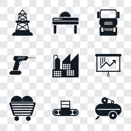 Ensemble de 9 icônes de transparence simples telles que compresseur, convoyeur, charbon, planification, usine, perceuse, camion, scie, gisement de pétrole, peuvent être utilisées pour le mobile, pack d'icônes vectorielles parfait pixel sur fond transparent