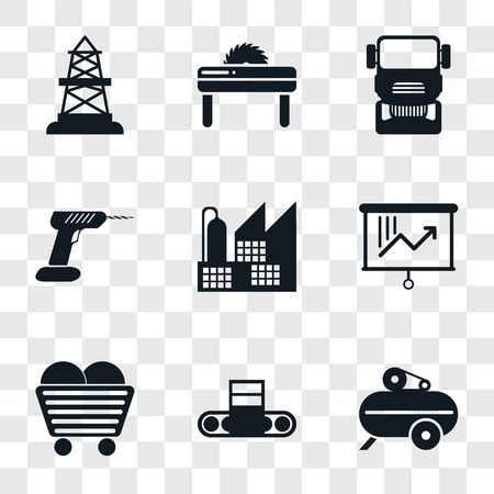 Set Of 9 simple transparency icons such as Compressor, Conveyor, Coal, Planning, Factory, Drill, Truck, Saw, Oilfield, can be used for mobile, pixel perfect vector icon pack on transparent background