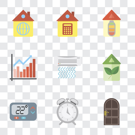Set Of 9 simple transparency icons such as Door, Alarm, Thermostat, Eco home, Air conditioner, Chart, Home, can be used for mobile, pixel perfect vector icon pack on transparent