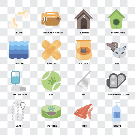 Set Of 16 icons such as Drops, Fish, Pet bed, Leash, Grooming glove, Bone, Water, Water tank, Cat food on transparent background, pixel perfect
