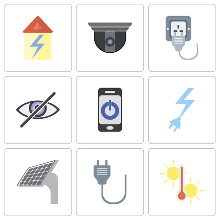 Set Of 9 simple editable icons such as Temperature, Plug, Panel, Power, Smartphone, Blind, Security camera, Home, can be used for mobile, pixel perfect vector icon pack
