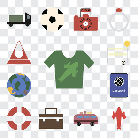 Set Of 13 transparent editable icons such as Shirt, Airplane, Minivan, Suitcase, Lifebuoy, Passport, Globe, Beach volleyball, Purse, web ui icon pack, transparency set Illustration