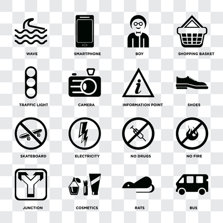 Set Of 16 icons such as Bus, Rats, Cosmetics, Junction, No fire, Wave, Traffic light, Skateboard, Information point on transparent background, pixel perfect