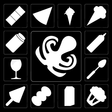 Set Of 13 simple editable icons such as Octopus, Cauliflower, Milk, Coffee, Ice cream, Spoon, Glass, Mustard, Honey on black background Ilustração