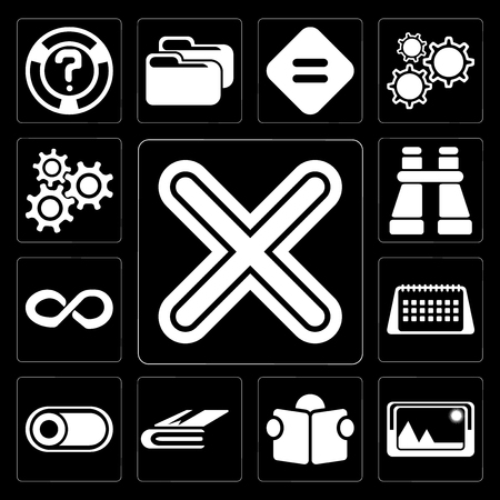 Set Of 13 simple editable icons such as Multiply, Picture, Reading, Notebook, Switch, Calendar, Infinity, Binoculars, Settings on black background Illustration
