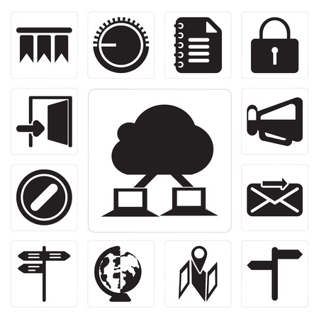 Set Of 13 simple editable icons such as Cloud computing, , Map, Worldwide, Street, Send, Forbidden, Megaphone, Exit, web ui icon pack