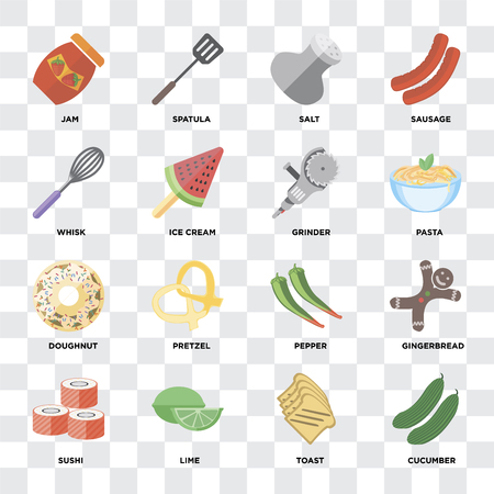 Set Of 16 icons such as Cucumber, Toast, Lime, Sushi, Gingerbread, Jam, Whisk, Doughnut, Grinder on transparent background, pixel perfect Çizim