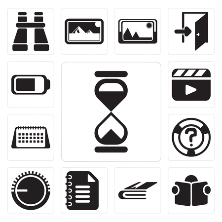 Set Of 13 simple editable icons such as Hourglass, Reading, Notebook, Notepad, Volume control, Help, Calendar, Video player, Battery, web ui icon pack Banque d'images - 111925841