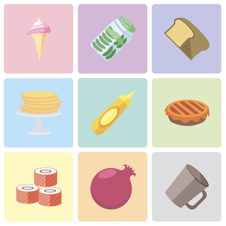 Set Of 9 simple editable icons such as Mug, Pomegranate, Sushi, Pie, Mustard, Pancakes, Bread, Pickles, Ice cream, can be used for mobile, pixel perfect vector icon pack Ilustrace