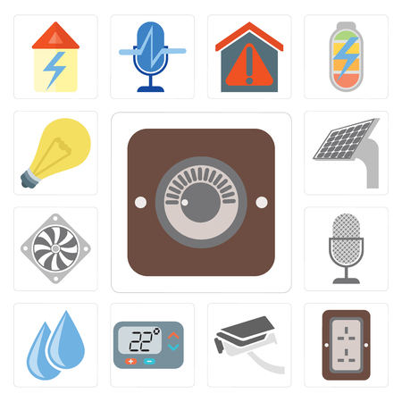 Set Of 13 simple editable icons such as Dimmer, Plug, Security camera, Thermostat, Water, Voice control, Cooler, Panel, Light, web ui icon pack