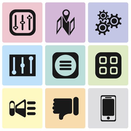 Set Of 9 simple editable icons such as Smartphone, Dislike, Speaker, Menu, Controls, Settings, Map, can be used for mobile, pixel perfect vector icon pack