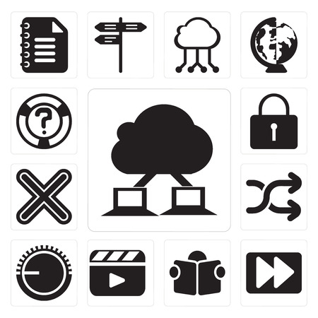 Set Of 13 simple editable icons such as Cloud computing, Fast forward, Reading, Video player, Volume control, Shuffle, Multiply, Locked, Help, web ui icon pack