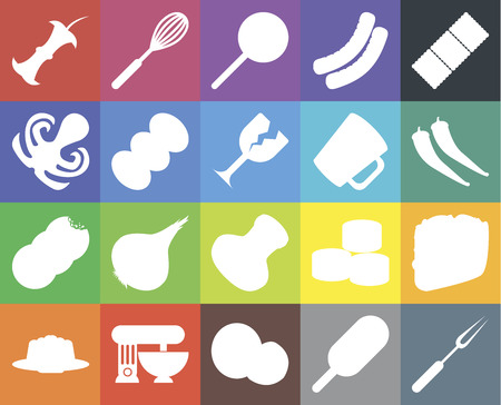 Set Of 20 icons such as Fork, Ice cream, Coconut, Mixer, Jelly, Biscuit, Taco, Salt, Cookies, Coffee, Mug, Apple, Pepper, Jawbreaker, web UI editable icon pack, pixel perfect