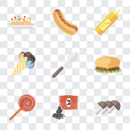 Set Of 9 simple transparency icons such as Mushrooms, Seeds, Jawbreaker, Hamburguer, Spoon, Ice cream, Mustard, Hot dog, Risotto, can be used for mobile, pixel perfect vector icon pack on transparent