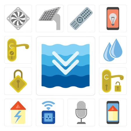 Set Of 13 simple editable icons such as Deep, Smart home, Voice control, Socket, Home, Handle, Locking, Water, Doorknob, web ui icon pack Banque d'images - 111925850