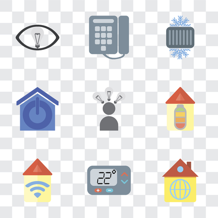 Set Of 9 simple transparency icons such as Home, Thermostat, Automation, Smart, Smart home, Cool, Dial, can be used for mobile, pixel perfect vector icon pack on transparent background