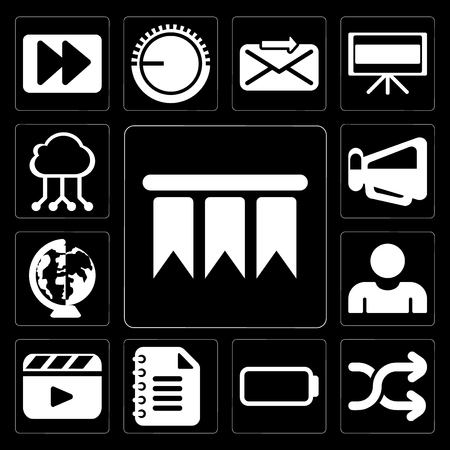 Set Of 13 simple editable icons such as Bookmark, Shuffle, Battery, Notepad, Video player, User, Worldwide, Megaphone, Cloud computing on black background