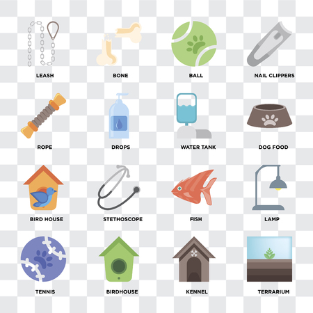 Set Of 16 icons such as Terrarium, Kennel, Birdhouse, Tennis, Lamp, Leash, Rope, Bird house, Water tank on transparent background, pixel perfect