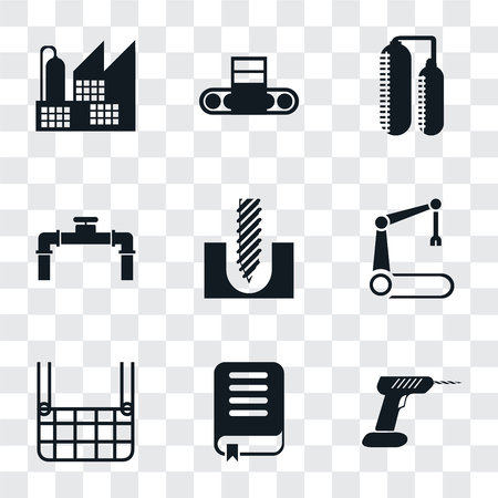 Set Of 9 simple transparency icons such as Drill, Book, Elevator, Robotic arm, Pipe, Silo, Conveyor, Factory, can be used for mobile, pixel perfect vector icon pack on transparent background