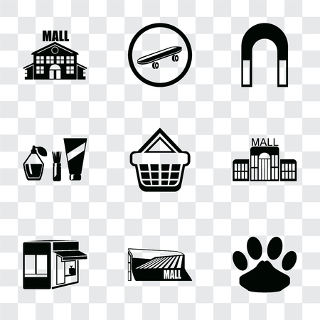 Set Of 9 simple transparency icons such as Pet, Mall, Store, Shopping basket, Cosmetics, Magnet, Skateboard, can be used for mobile, pixel perfect vector icon pack on transparent Reklamní fotografie - 111925855