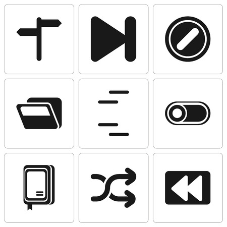 Set Of 9 simple editable icons such as Rewind, Shuffle, Notebook, Switch, Folder, Forbidden, Next, , can be used for mobile, pixel perfect vector icon pack