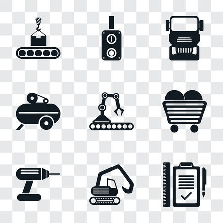 Set Of 9 simple transparency icons such as Plan, Digger, Drill, Coal, Conveyor, Compressor, Truck, Switch, can be used for mobile, pixel perfect vector icon pack on transparent background Illustration