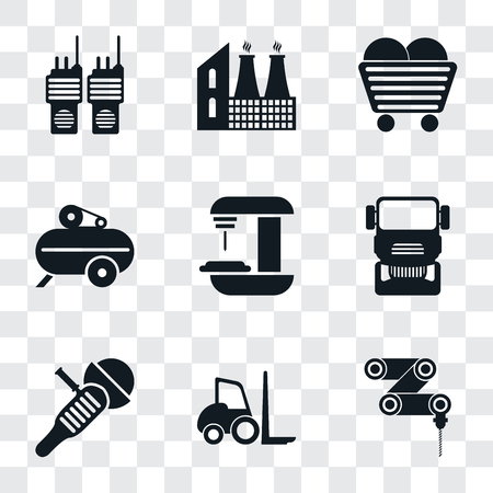 Set Of 9 simple transparency icons such as Drilling machine, Forklift, Sanding Truck, Machine, Compressor, Coal, Factory, Walkie talkie, can be used for mobile, pixel perfect vector icon