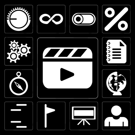 Set Of 13 simple editable icons such as Video player, User, Television, Flag, Lines, Worldwide, Compass, Notepad, Settings on black background
