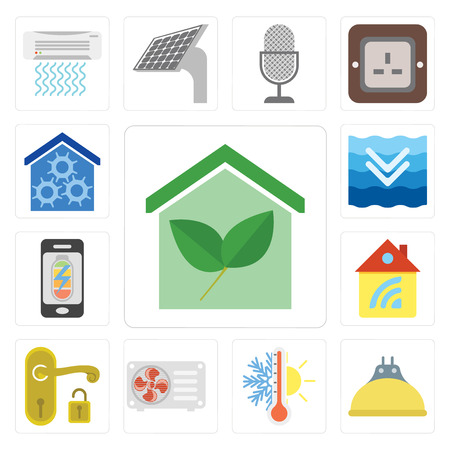 Set Of 13 simple editable icons such as Smart home, Lightbulb, Thermostat, Air conditioner, Handle, Home, Mobile phone, Deep, web ui icon pack