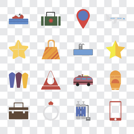 Set Of 16 transparent icons such as Phone, Oxygen tank, Ring, Suitcase, Sun protection, Water craft, Starfish, Surfing, Swimming pool, transparency icon pack, pixel perfect Stock Vector - 111925865