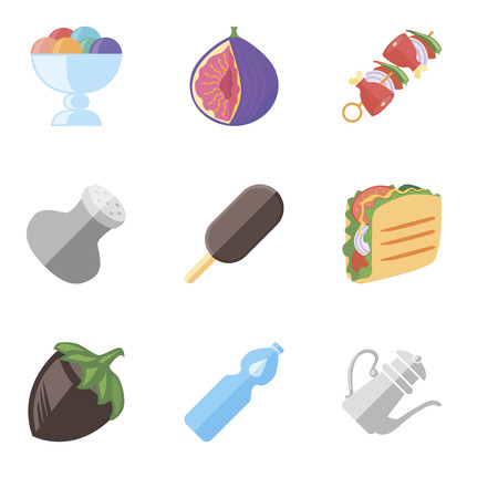 Set Of 9 simple editable icons such as Teapot, Water, Hazelnut, Taco, Ice cream, Salt, Kebab, Fig, can be used for mobile, pixel perfect vector icon pack