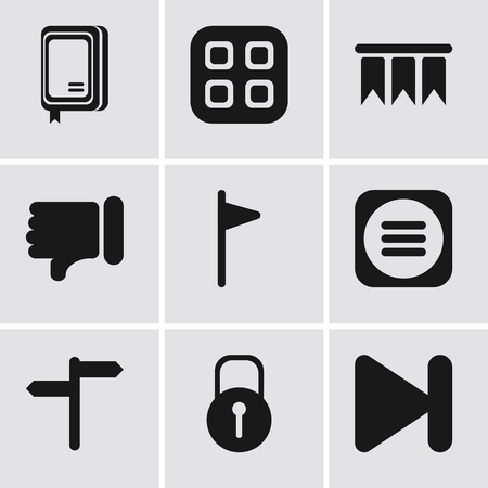 Set Of 9 simple editable icons such as Next, Locked, Menu, Flag, Dislike, Bookmark, Notebook, can be used for mobile, pixel perfect vector icon pack