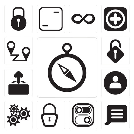 Set Of 13 simple editable icons such as Compass, Notification, Switch, Locked, Settings, User, Upload, Unlocked, Placeholders, web ui icon pack