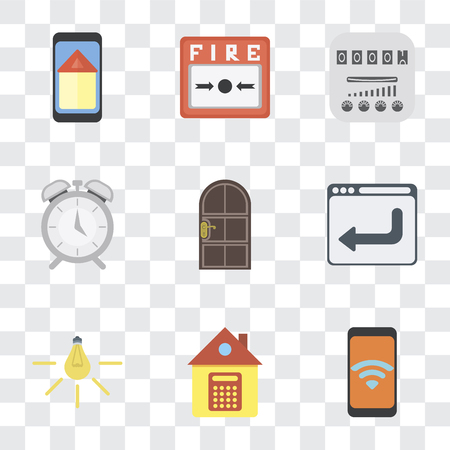 Set Of 9 simple transparency icons such as Mobile, Home, Light, Browser, Door, Alarm, Meter, Fire alarm, Smart home, can be used for mobile, pixel perfect vector icon pack on transparent background Illustration