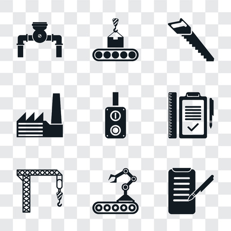 Set Of 9 simple transparency icons such as Planing, Conveyor, Crane, Plan, Switch, Factory, Saw, Pump, can be used for mobile, pixel perfect vector icon pack on transparent background