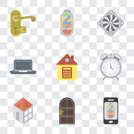 Set Of 9 simple transparency icons such as Mobile phone, Door, Home, Alarm, Laptop, Cooler, Power, Handle, can be used for mobile, pixel perfect vector icon pack on transparent background