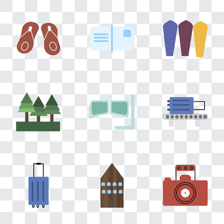 Set Of 9 simple transparency icons such as Photography, Hotel, Luggage, Check out, Snorkel, Forest, Surfing, Postcards, Flip flops, can be used for mobile, pixel perfect vector icon pack on