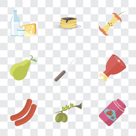 Set Of 9 simple transparency icons such as Jam, Olives, Sausage, Ham, Fork, Pear, Apple, Pancakes, Dairy, can be used for mobile, pixel perfect vector icon pack on transparent background