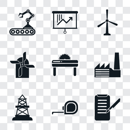 Set Of 9 simple transparency icons such as Planing, Measuring tape, Oilfield, Factory, Saw, Mill, Windmill, Planning, Conveyor, can be used for mobile, pixel perfect vector icon pack on transparent