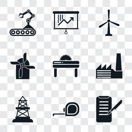 Set von 9 einfachen Transparenzsymbolen wie Hobeln, Maßband, Ölfeld, Fabrik, Säge, Mühle, Windmühle, Planung, Förderband, kann für mobile, pixelperfekte Vektorsymbole auf transparent verwendet werden
