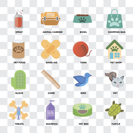 Set Of 16 icons such as Turtle, Pet bed, Shampoo, Treats, Pet, Spray, food, Glove, Yarn on transparent background, pixel perfect